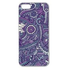 Purple Hippie Flowers Pattern, Zz0102, Apple Seamless Iphone 5 Case (clear) by Zandiepants