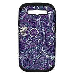 Purple Hippie Flowers Pattern, Zz0102, Samsung Galaxy S Iii Hardshell Case (pc+silicone) by Zandiepants