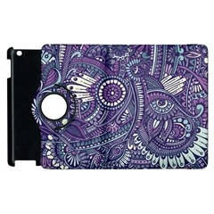 Purple Hippie Flowers Pattern, Zz0102, Apple Ipad 3/4 Flip 360 Case by Zandiepants