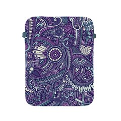 Purple Hippie Flowers Pattern, Zz0102, Apple Ipad 2/3/4 Protective Soft Case by Zandiepants