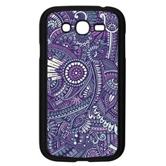 Purple Hippie Flowers Pattern, Zz0102, Samsung Galaxy Grand Duos I9082 Case (black) by Zandiepants