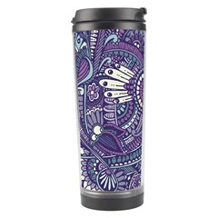 Purple Hippie Flowers Pattern, Zz0102, Travel Tumbler by Zandiepants
