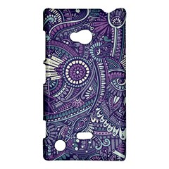 Purple Hippie Flowers Pattern, Zz0102, Nokia Lumia 720 Hardshell Case by Zandiepants