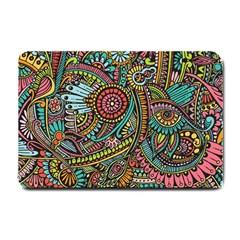 Colorful Hippie Flowers Pattern, Zz0103 Small Doormat by Zandiepants