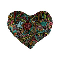 Colorful Hippie Flowers Pattern, Zz0103 Standard 16  Premium Heart Shape Cushion  by Zandiepants