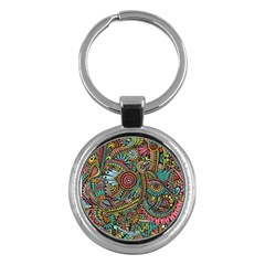 Colorful Hippie Flowers Pattern, Zz0103 Key Chain (round) by Zandiepants