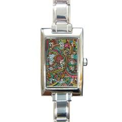 Colorful Hippie Flowers Pattern, Zz0103 Rectangle Italian Charm Watch by Zandiepants