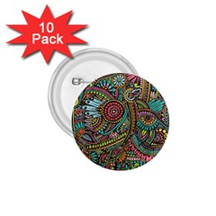 Colorful Hippie Flowers Pattern, Zz0103 1 75  Button (10 Pack)  by Zandiepants