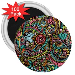Colorful Hippie Flowers Pattern, Zz0103 3  Magnet (100 Pack) by Zandiepants
