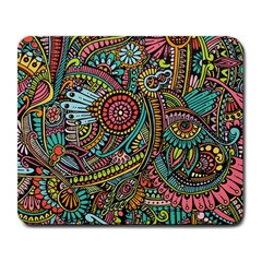 Colorful Hippie Flowers Pattern, Zz0103 Large Mousepad by Zandiepants