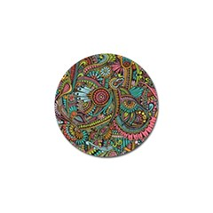 Colorful Hippie Flowers Pattern, Zz0103 Golf Ball Marker (4 Pack) by Zandiepants