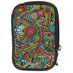 Colorful Hippie Flowers Pattern, Zz0103 Compact Camera Leather Case by Zandiepants