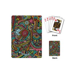 Colorful Hippie Flowers Pattern, Zz0103 Playing Cards (mini) by Zandiepants