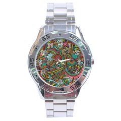 Colorful Hippie Flowers Pattern, Zz0103 Stainless Steel Analogue Watch by Zandiepants