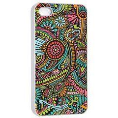 Colorful Hippie Flowers Pattern, Zz0103 Apple Iphone 4/4s Seamless Case (white) by Zandiepants