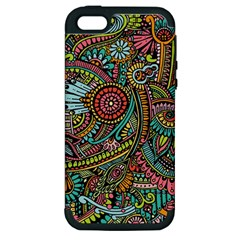 Colorful Hippie Flowers Pattern, Zz0103 Apple Iphone 5 Hardshell Case (pc+silicone) by Zandiepants
