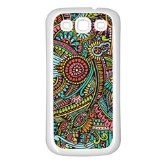 Colorful Hippie Flowers Pattern, Zz0103 Samsung Galaxy S3 Back Case (white) by Zandiepants