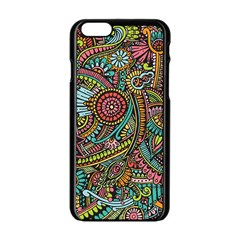 Colorful Hippie Flowers Pattern, Zz0103 Apple Iphone 6/6s Black Enamel Case by Zandiepants