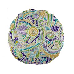 Purple, Green, Yellow Hippie Flowers Pattern, Zz0104 Standard 15  Premium Round Cushion  by Zandiepants