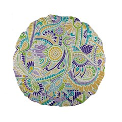 Purple, Green, Yellow Hippie Flowers Pattern, Zz0104 Standard 15  Premium Flano Round Cushion  by Zandiepants