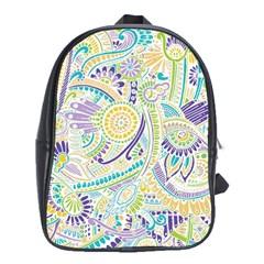 Purple, Green, Yellow Hippie Flowers Pattern, Zz0104 School Bag (xl) by Zandiepants