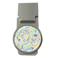 Purple, Green, Yellow Hippie Flowers Pattern, Zz0104 Money Clip (round) by Zandiepants