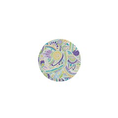 Purple, Green, Yellow Hippie Flowers Pattern, Zz0104, 1  Mini Button by Zandiepants