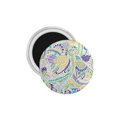 Purple, Green, Yellow Hippie Flowers Pattern, Zz0104, 1 75  Magnet by Zandiepants