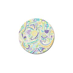 Purple, Green, Yellow Hippie Flowers Pattern, Zz0104, Golf Ball Marker by Zandiepants