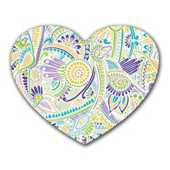 Purple, Green, Yellow Hippie Flowers Pattern, Zz0104, Heart Mousepad by Zandiepants