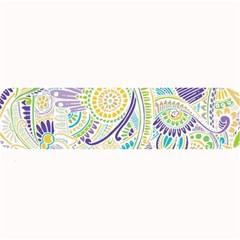 Purple, Green, Yellow Hippie Flowers Pattern, Zz0104, Large Bar Mat by Zandiepants