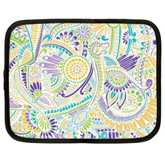 Purple, Green, Yellow Hippie Flowers Pattern, Zz0104, Netbook Case (xxl) by Zandiepants