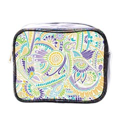 Purple, Green, Yellow Hippie Flowers Pattern, Zz0104, Mini Toiletries Bag (one Side) by Zandiepants