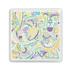 Purple, Green, Yellow Hippie Flowers Pattern, Zz0104, Memory Card Reader (square) by Zandiepants
