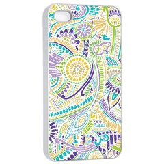 Purple, Green, Yellow Hippie Flowers Pattern, Zz0104, Apple Iphone 4/4s Seamless Case (white) by Zandiepants