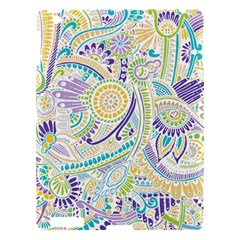 Purple, Green, Yellow Hippie Flowers Pattern, Zz0104, Apple Ipad 3/4 Hardshell Case by Zandiepants