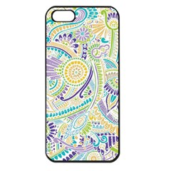 Purple, Green, Yellow Hippie Flowers Pattern, Zz0104, Apple Iphone 5 Seamless Case (black) by Zandiepants