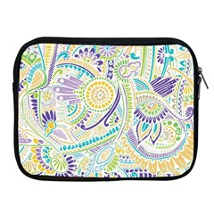Purple, Green, Yellow Hippie Flowers Pattern, Zz0104, Apple Ipad 2/3/4 Zipper Case by Zandiepants