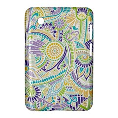 Purple, Green, Yellow Hippie Flowers Pattern, Zz0104, Samsung Galaxy Tab 2 (7 ) P3100 Hardshell Case  by Zandiepants