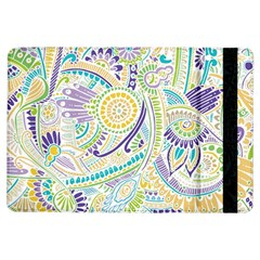Purple, Green, Yellow Hippie Flowers Pattern, Zz0104, Apple Ipad Air Flip Case by Zandiepants