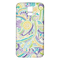 Purple, Green, Yellow Hippie Flowers Pattern, Zz0104, Samsung Galaxy S5 Back Case (white) by Zandiepants
