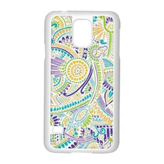Purple, Green, Yellow Hippie Flowers Pattern, Zz0104, Samsung Galaxy S5 Case (white) by Zandiepants
