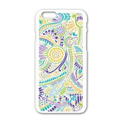 Purple, Green, Yellow Hippie Flowers Pattern, Zz0104, Apple Iphone 6/6s White Enamel Case by Zandiepants