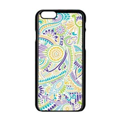 Purple, Green, Yellow Hippie Flowers Pattern, Zz0104, Apple Iphone 6/6s Black Enamel Case by Zandiepants