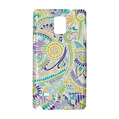 Purple, Green, Yellow Hippie Flowers Pattern, Zz0104, Samsung Galaxy Note 4 Hardshell Case by Zandiepants