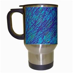 Blue Pattern Travel Mugs (white) by Valentinaart