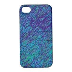 Blue Pattern Apple Iphone 4/4s Hardshell Case With Stand by Valentinaart