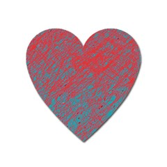 Red And Blue Pattern Heart Magnet by Valentinaart