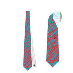 Red And Blue Pattern Neckties (two Side)  by Valentinaart