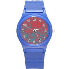 Red And Blue Pattern Round Plastic Sport Watch (s) by Valentinaart